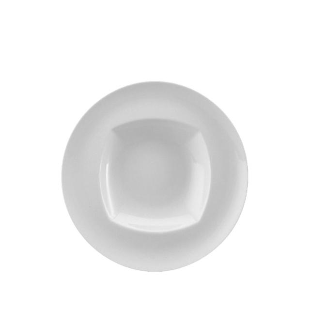 12510-eventtool24-Porzellan-Serie CREATIVE-Teller Creative tief  | viereckiger Spiegel mit Fahne 22 cm