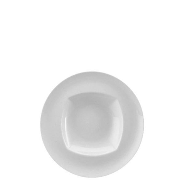 12511-eventtool24-Porzellan-Serie CREATIVE-Teller Creative tief | viereckiger Spiegel mit Fahne 17 cm