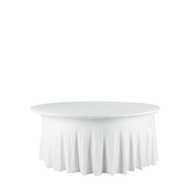 21410-eventtool24-Tischhussen-Banketttischhusse Royal weiß | Stretch rund Ø 180 cm