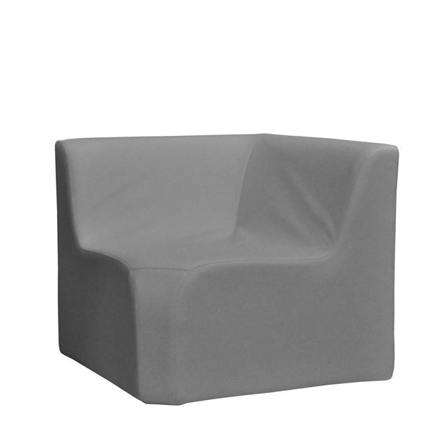 Loungesystem Wave Eckteil innen mit Lehnen grau