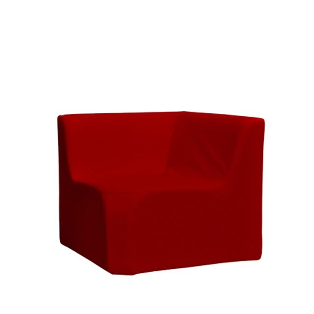 Loungesystem Wave Eckteil innen mit Lehnen rot