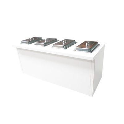 Buffet-Table White Lounge mit 4 eingelassenen Chafing Dishes