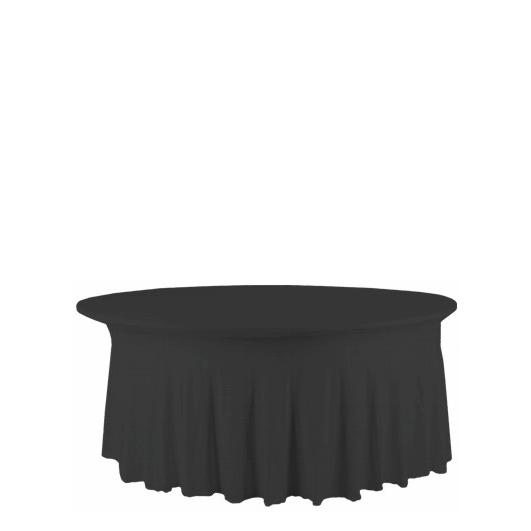 Banketttischhusse Royal schwarz | Stretch rund Ø 180 cm