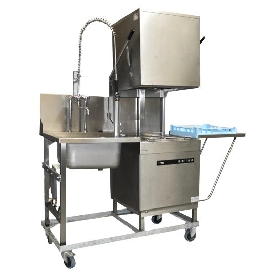 61345-eventtool24-Reinigung & Sauberkeit, Spülmaschinen & Spülzubehör-Haubendurchschubspülmaschine Zulauf links